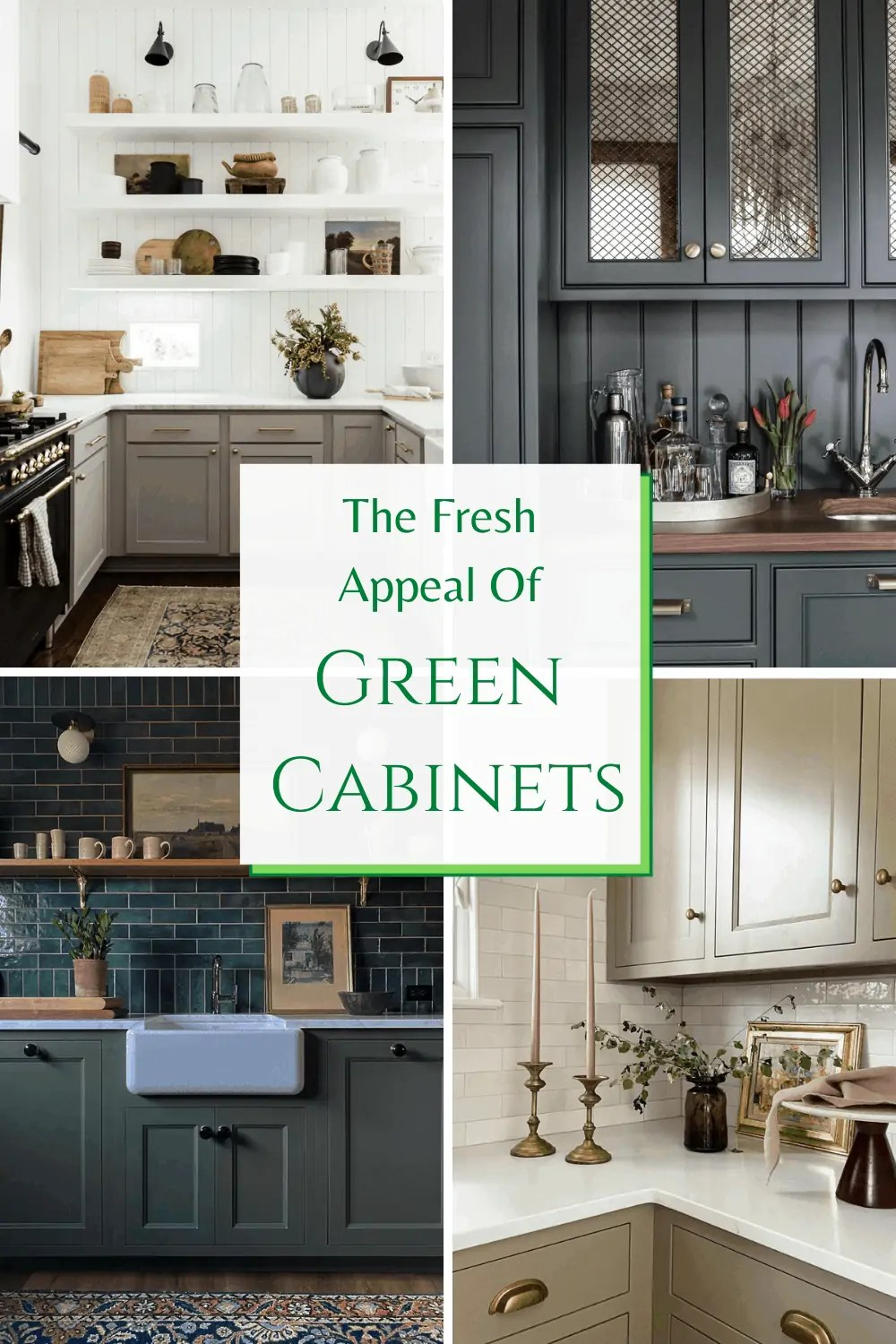 Kitchen cabinets in different shades of green