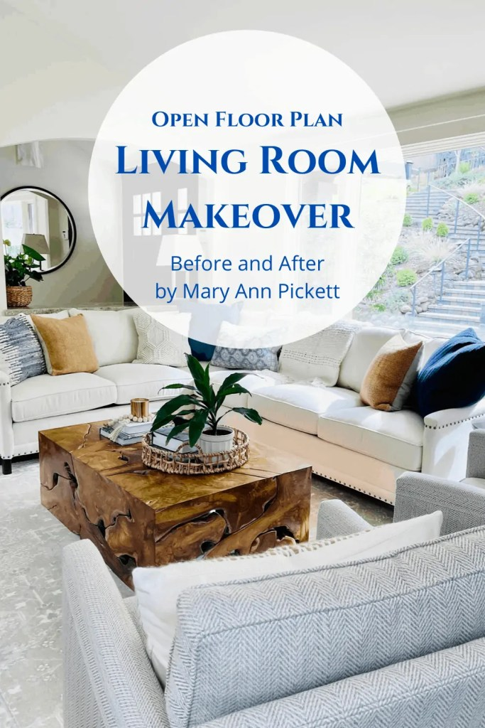 transitional living room makeover by Mary Ann Pickett