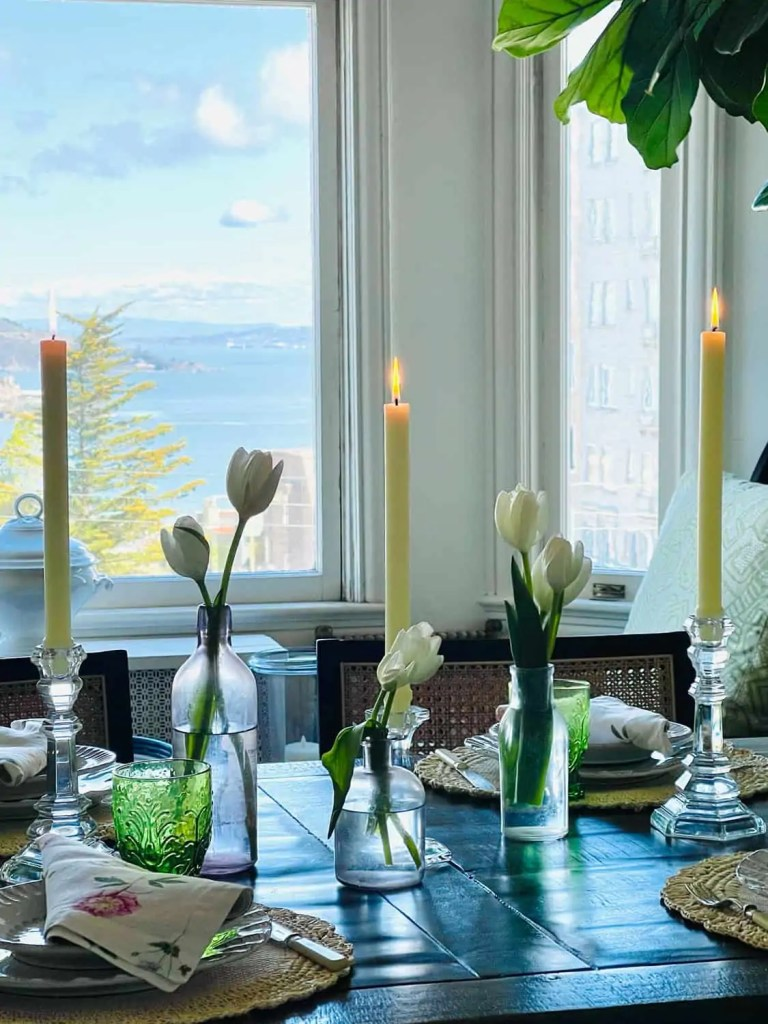 Mary Ann Pickett's Spring table with San Francisco Bay view