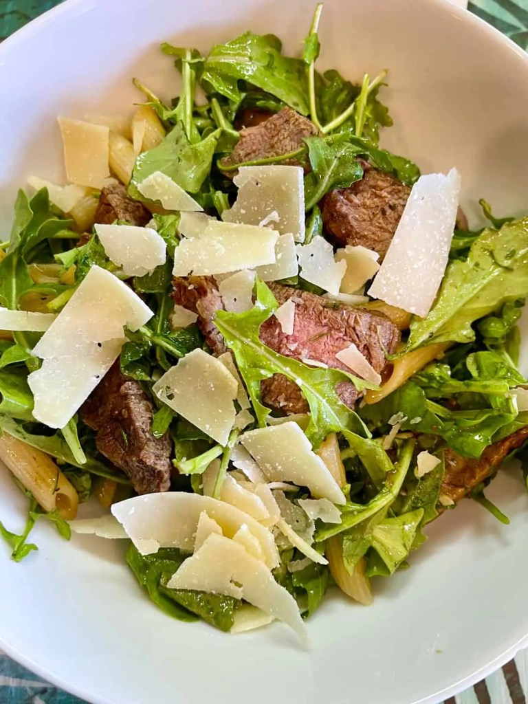 Grilled Steak with Arugula and Pasta
