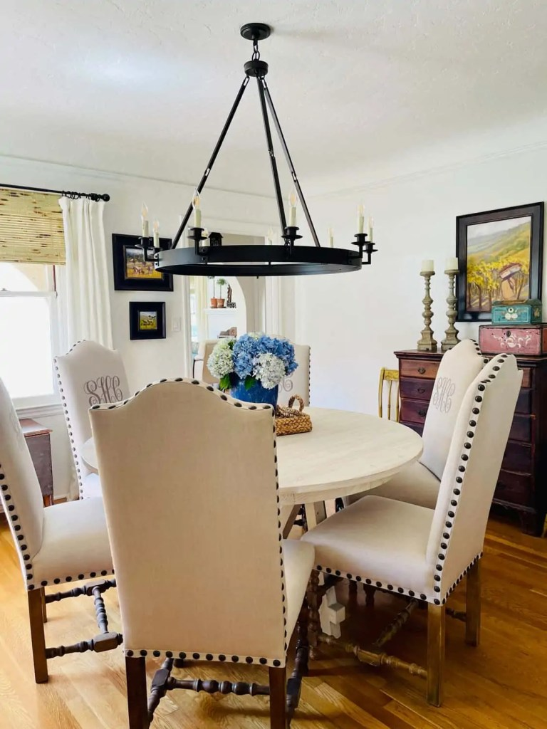 Monogrammed dining chairs and round table