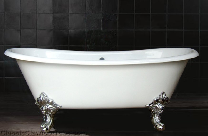 "71"" Cast Iron Double Ended Slipper Clawfoot Tub W/Imperial"