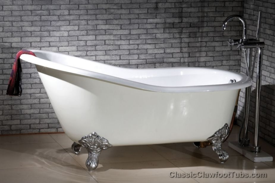 "61"" Cast Iron Slipper Clawfoot Tub W/ Imperial Feet"