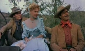 three violent people 1956 charlton heston, anne baxter, and gilbert roland