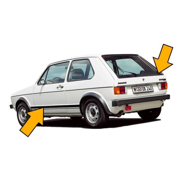 Vinyle Naklejki Dekory GTI (Komplet) VW Golf 1 GTI