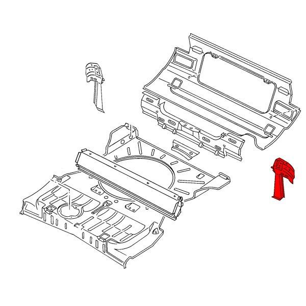 155813369A Wzmocnienie Podłużnicy Lewe VW Golf 1 Cabrio