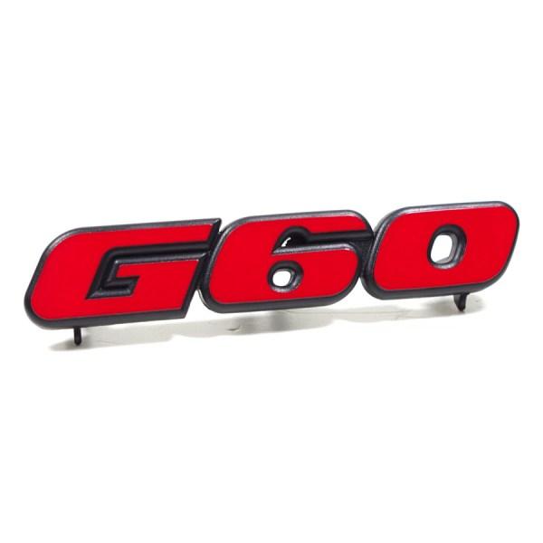 """191853679NQN5 Emblemat """"G60"""" W Przedni Grill Atrape VW Golf 2, Jetta 2"""