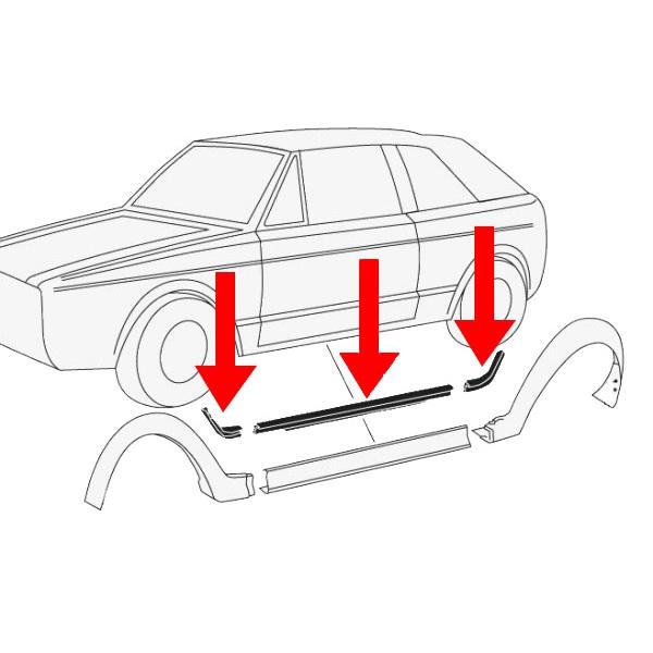 15582152190E Uszczelki Pakietu Karmann (Białe) VW Golf 1 Cabrio