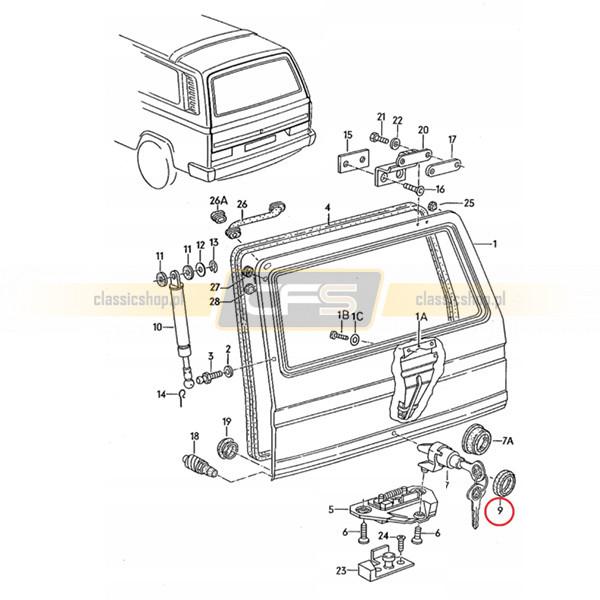 Uszczelka Przycisku Zamka Tylnej Klapy VW Bus T3 (84-92)
