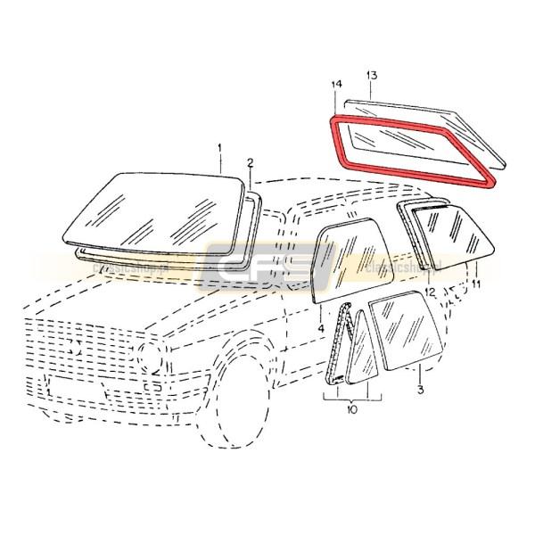 Uszczelka Szyby Tylnej (Pod Klin) VW Golf 2