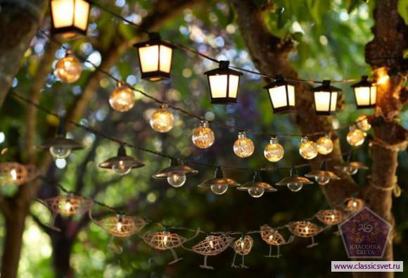 Освещение летнего сада