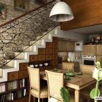 Обустройство подлестничного пространства в загородном доме