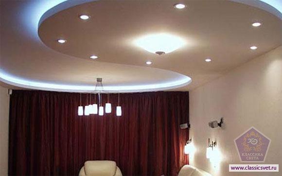 Подсветка потолка из гипсокартона 02