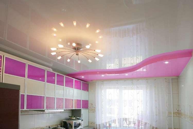 Гипсокартонные потолки на кухне. Люстра 02