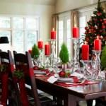 Украшение стола на рождество при свете