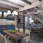 Гостиная с кухней и столовой минималистичный интерьер дома с преобладанием натурального дерева и светом
