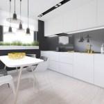 Серая гостиная с белой кухней и освещением