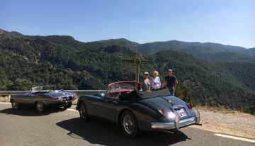 Jaguar XK and E-type in the Pyrenees