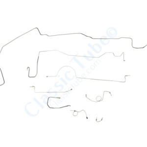 "Plymouth Barracuda Brake Line Kit  Power Drum - Right Front Routes Over Frame - 8-3/4"" and Dana Axle -1972,1973,1974"