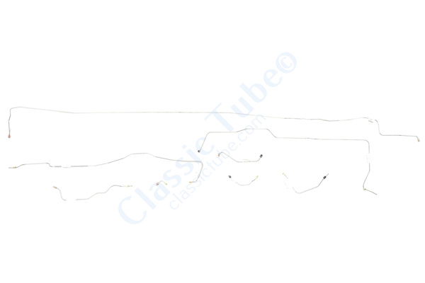 Ford Mustang Brake Line Kit (8pcs)  Power Disc - Early (Built Before Feb. 1967)  V8 - 8 in Axle and  9 in Axle  Right Front and Front to Rear Route Over Steering Box   -1967
