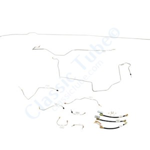 "Ford Mustang Brake Line Kit (9pcs) with Rubber Brake Hose Kit (3pcs)  Power Disc - V8 - 9"", Axle - 31 Spline -1968,1969"