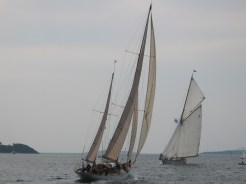 Belle Aventure & Moonbeam IV 'playing' at the start - Fife Regatta 2003