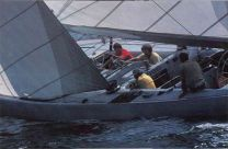 Photo of the 1977 crew practicing in Newport