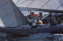 Photo of the 1977 crew practicing in Newport