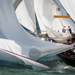 Cowes, Isle of Wight, UK - 12 July 2016 - Panerai Classic Yachts Challenge 2016 British Classic Week 2016 Infanta at the downwind mark Ph: Guido Cantini / Panerai