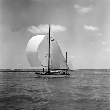 Malay I - Concordia yawl in black and white photo from Rosenfeld and Sons photographers