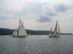 Moonbeam IV with Belle Aventure on the start line during the Fife regatta 2003