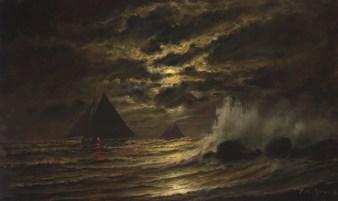 Skipjacks on the Chesapeake Bay at moonlight