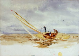 Close-hauled heeling sailing dinghy