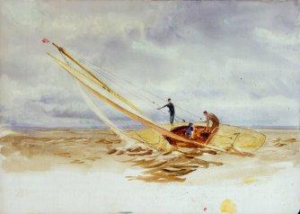 Close-hauled heeling sailing dinghy