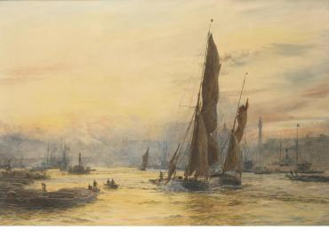 Thames barges in the Pool of London, racing down the river with the tide