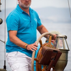 Porto Santo Stefano, Italy , Tara Getty on his boat Skylark