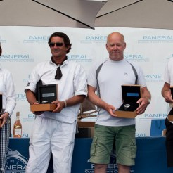 Antibes, France, 5 June 2016, Panerai Classic Yacht Challenge 2016, Voiles D'Antibes 2016, Prize Giving Ceremony. Overall winners of the respective classes and Panerai Watches: From L to R: Chinook, Moonbeam IV, Encounter and Freya Ph: Guido Cantini / Panerai / SeaSee.com