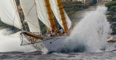 The Herreshoff schooner Elena racing off Monaco, 2015.