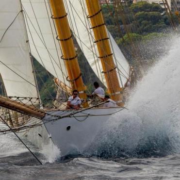 The Herreshoff schooner Elena racing off Monaco, 2015.