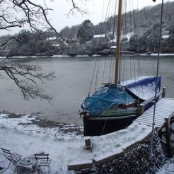 Moondance home berth on the river Fal, 2/2018