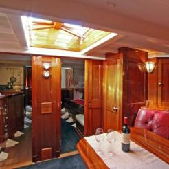 Hallowe'en Main saloon looking forward into the galley(port) and guest cabin(std)