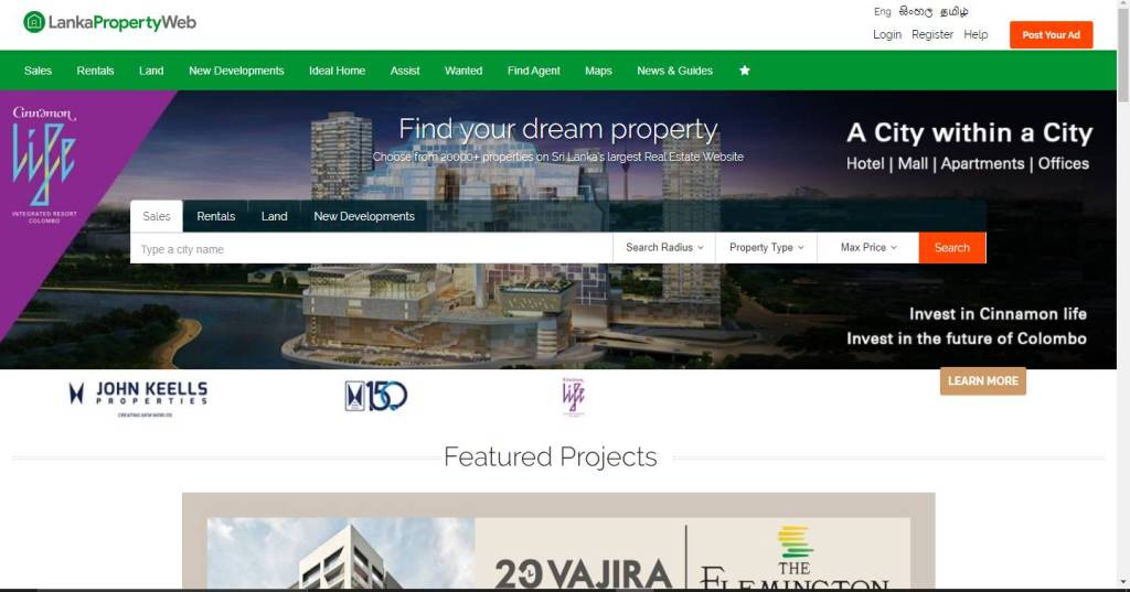 Lanka Property web listing site