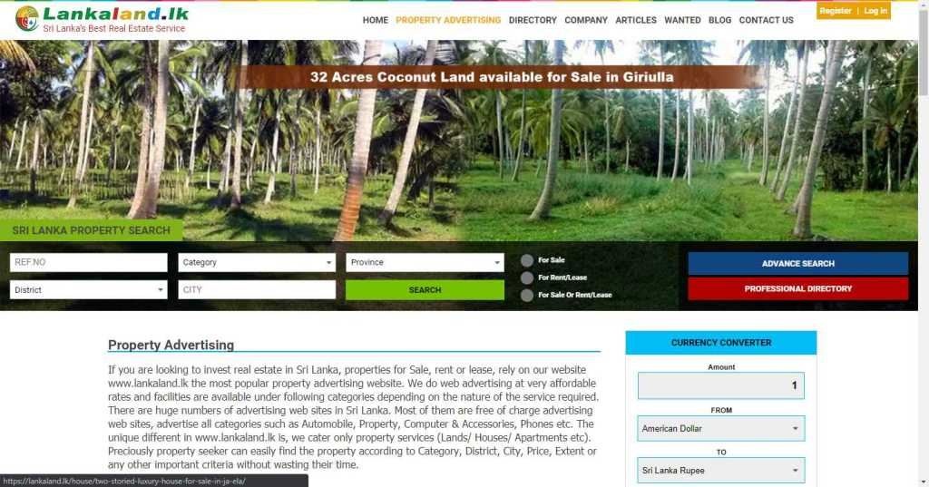 LankaLand property ad search site