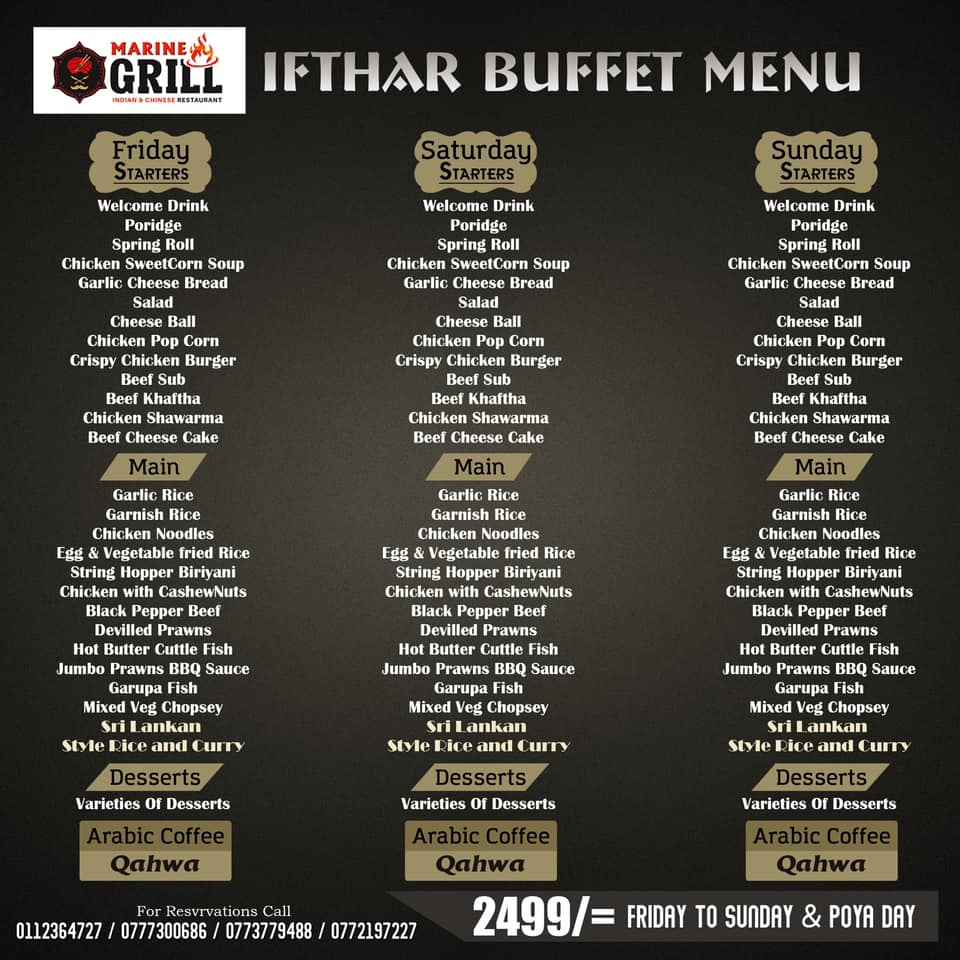 marine grill special ifthar buffet menu