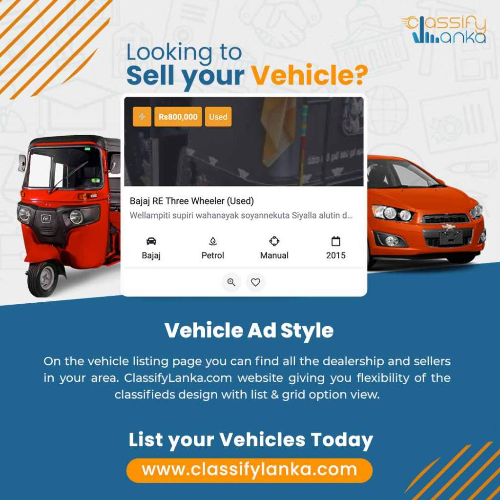 Find, buy, or sell it easy all types of vehicles in Sri Lanka