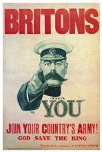 Britons, Lord Kitchener Wants You! Propaganda poster design from WWI by Alfred Leere. Image: courtesy of WorldWarEra.com