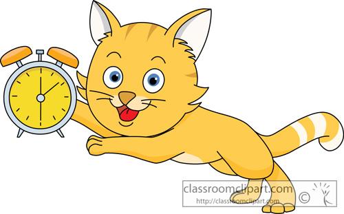 Cat Clipart : cat_running_with_alarm_clock : Classroom Clipart (500 x 311 Pixel)