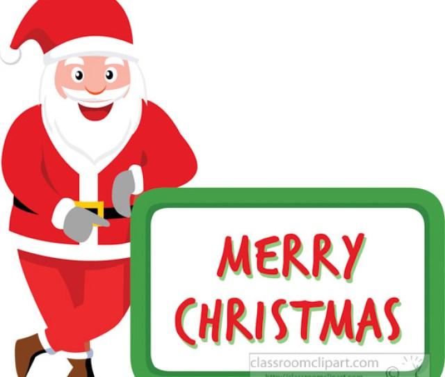 Santa Claus Showing Merry Christmas Banner Clipart Jpg