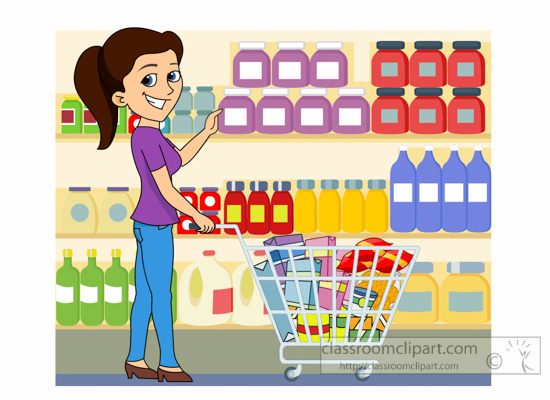 Grocery Clipart : lady-shopping-at-grocery-store-clipart ... (550 x 400 Pixel)