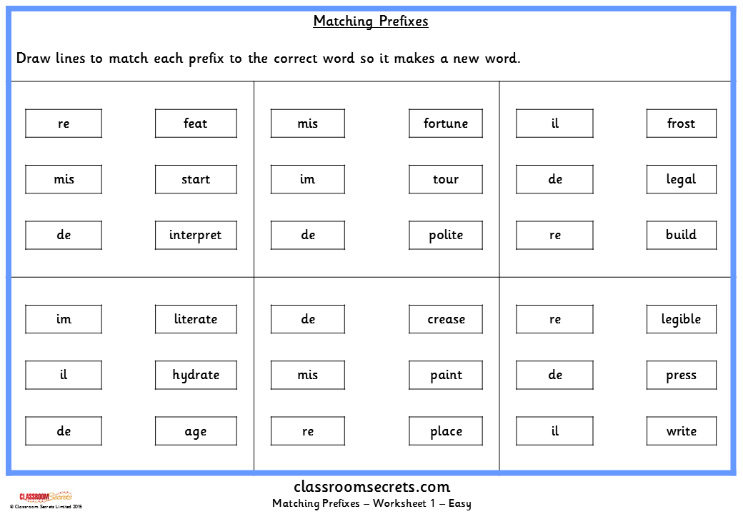 Matching Prefixes Ks2 Spag Test Practice